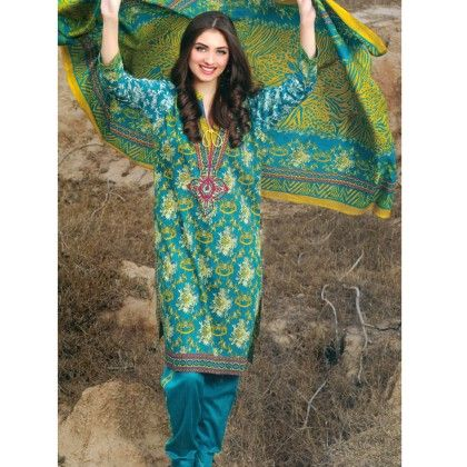 Yellow & Green Printed Semistitched Suit - Mauve Collection