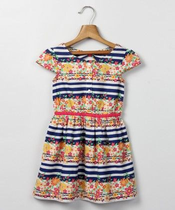 Multi Striped Floral Print Dress - Beebay