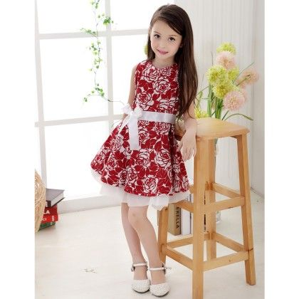 Cute Red Floral Print Dress - Boat