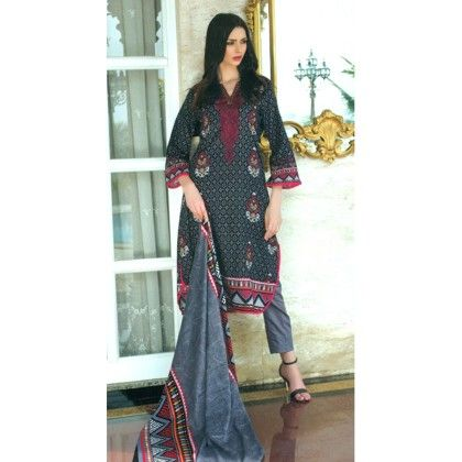 Gray & Maroon Printed Semistitched Suit - Mauve Collection