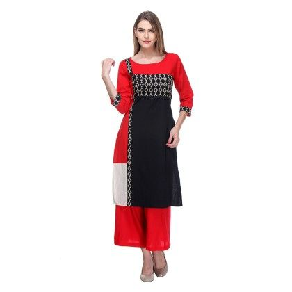 Red & Black Color Block Printed & Plazzo - Riti Riwaz