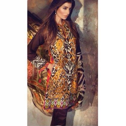 Florent Yellow/brown Cotton Print With Embroidery Dress Material - Afreen