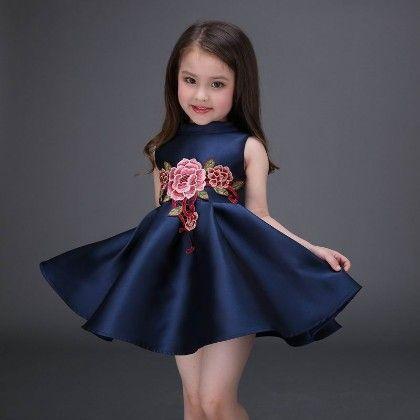 Blue Floral Applique Party Dress - Petite Kids