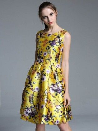 Yellow Garden Prints Dress - Mauve Collection