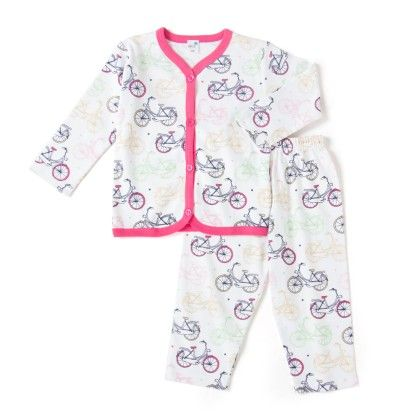 White And Pink Cycle Print Pyjama Set - Get It