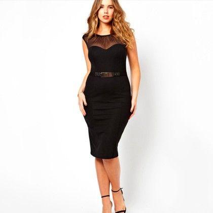 Black Knee Length Dress - Mauve Collection