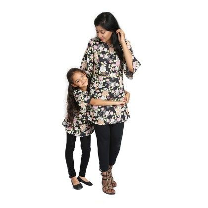 Vintage Floral Print Tunic With Leging Set For Mother - BonOrganik