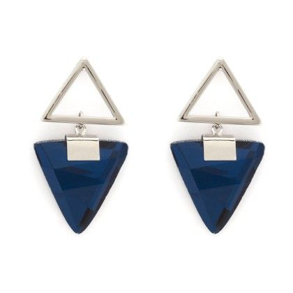 Blue Stone Triangle Stud - Trends