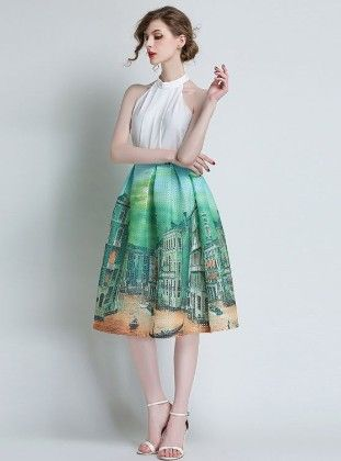 Green Landscape Design Fashion Waist Puff Skirt - Mauve Collection