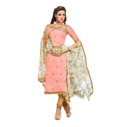 Peach Embroidered Dress Material With Matching Dupatta - Riti Riwaz