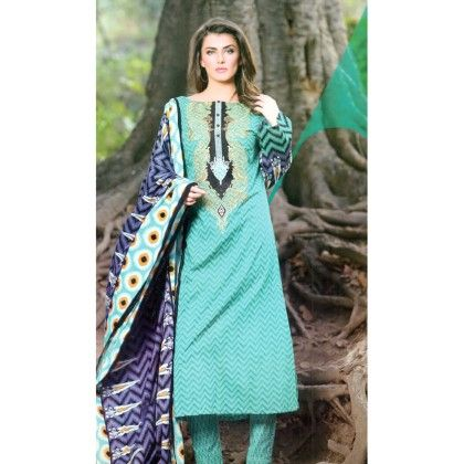 Blue  Embroidered Summer Semistiched Suit - Mauve Collection