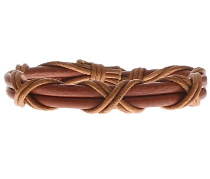 Brown Eternz Handmade Light Brown Leather Twin Strap Bracelet