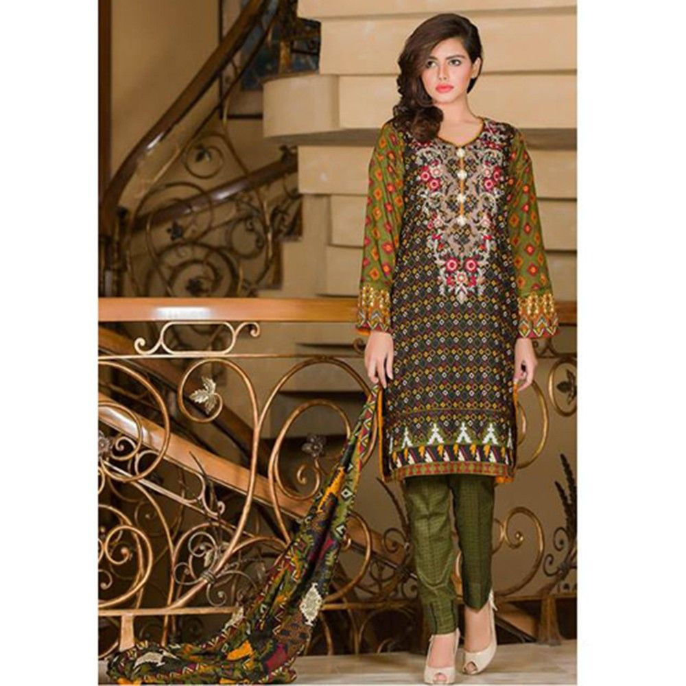Embroidered Brown Semistitched Dress Material - Mauve Collection
