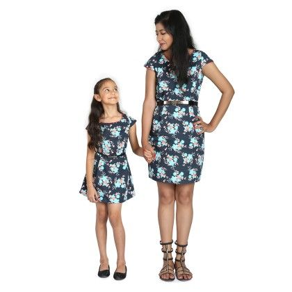 Floral Print Dress Without Belt For Mother - BonOrganik