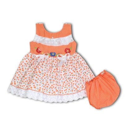 Emboidered Lacy Dress With Bloomer - Orange - BownBee