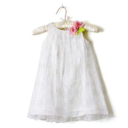 White Embroidered Net Dress - Nitallys