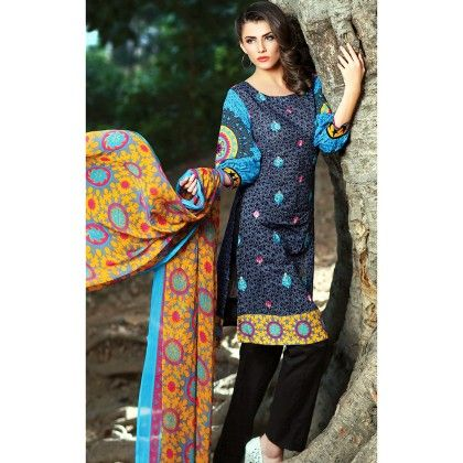 Navy Blue Embroidered Semistiched Suit - Mauve Collection