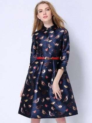 Birds Prints Beautiful Spring Dress - Mauve Collection