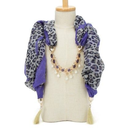 Purple Animal Print Necklace Scarf - Fashion Fiesta