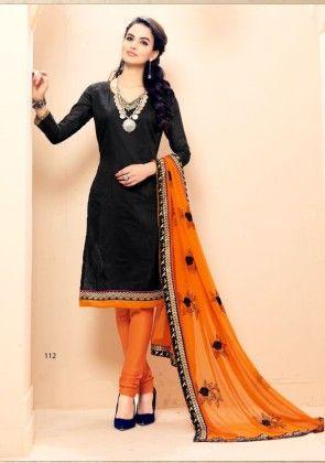 Stylelok Black Cotton Blended Unstitched Suit