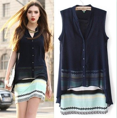 Women Long Shirt Blusa Fake 2 Pieces - STUPA FASHION
