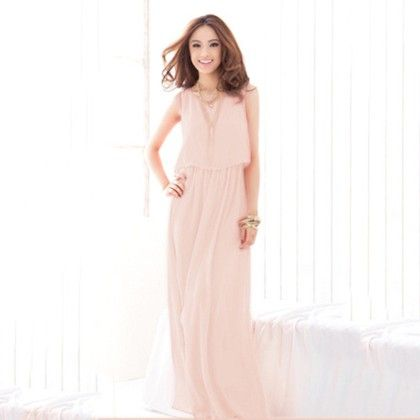 Light Pink Layered Long Dress - Dell's World