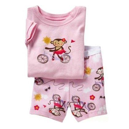 Pink Monkey On Bicycle Print T-shirt & Short Set - Lil Mantra