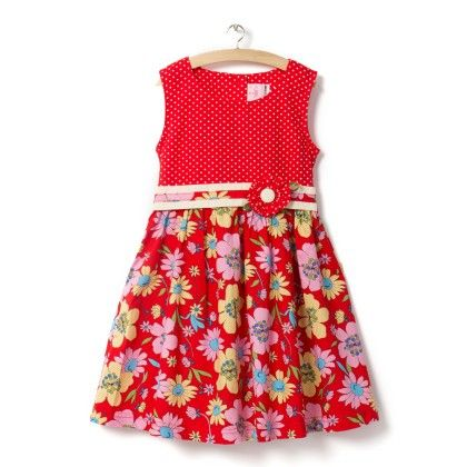 Red Floral Print Dress - Little Princess