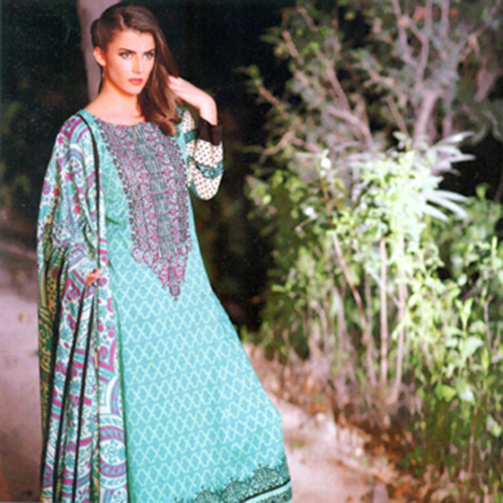 Classic Embroidered Semistiched Dress Material - Mauve Collection