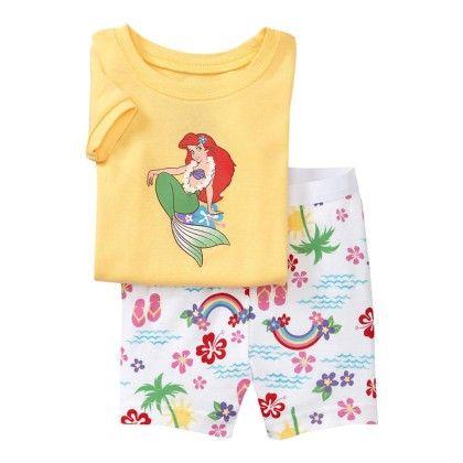 Yellow Arial Print T-shirt & Short Set - Lil Mantra