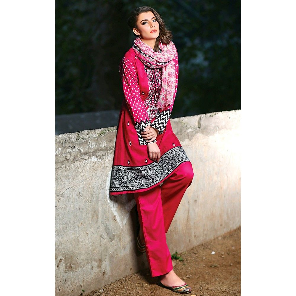 Unstitched Red Embroidered Semistiched Dress Material - Mauve Collection