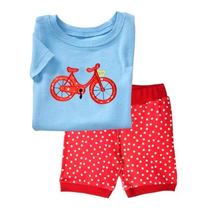 Blue Bicycle Print T-shirt & Short Set - Lil Mantra