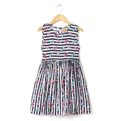 Bow Print Blue And White Stripe Dress - Hugs & Tugs