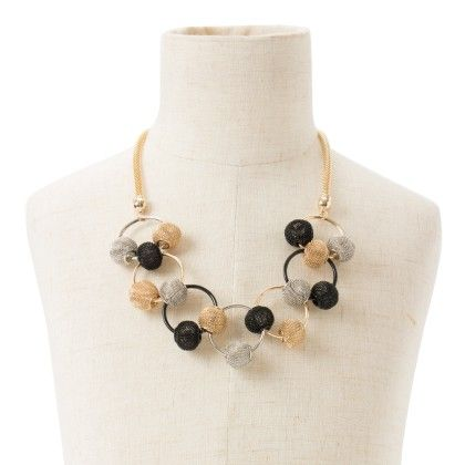 Neckpiece With Silver And Black Balls - Wilfred Jewellery