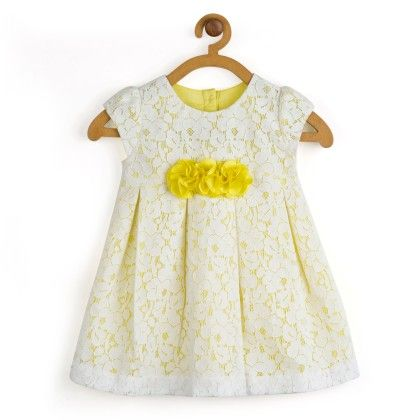 White With Yellow Pleated Lace Dress - Toy Balloon Kids