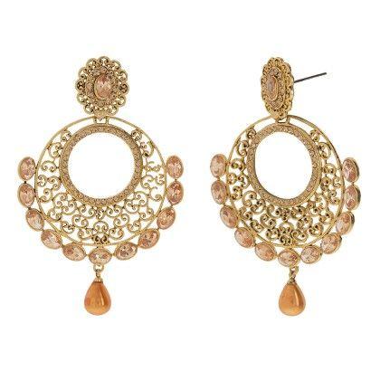 Champagne Stone Light Weight Gold Chandbali - Trends
