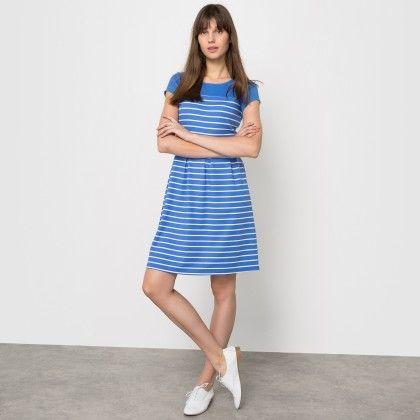 Les Petits Prix Light Blue Striped Dress - La Redoute