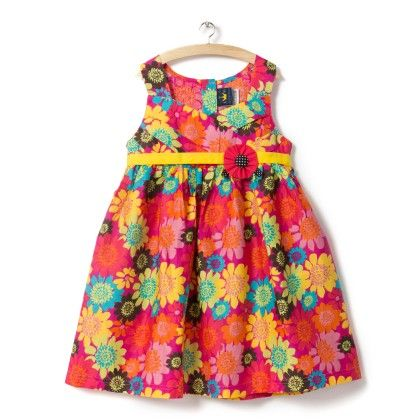 Floral Print With Yellow Belt - Little Princess