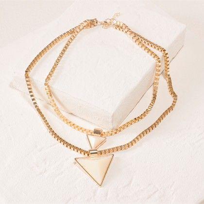 Triangle Beige Necklace - Dell's World