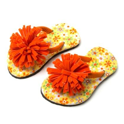 Pom Pom Flower With Floral Print Slipper-  Orange - Green