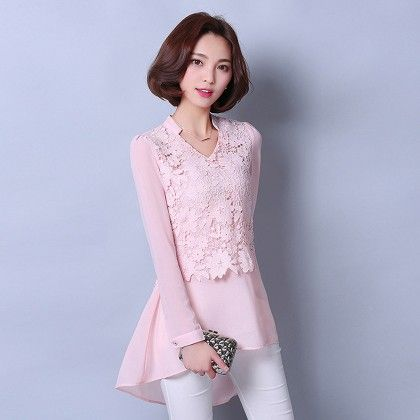 Pink Long Sleeve Shirts V-neck Lace Top - STUPA FASHION