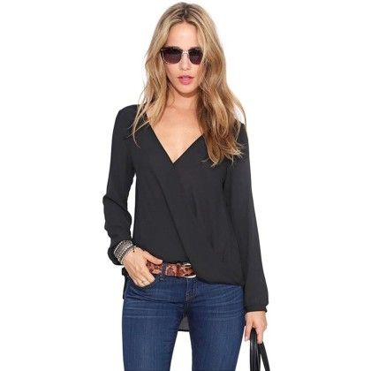 Overlap Long Sleeves Black Top - Dell's World
