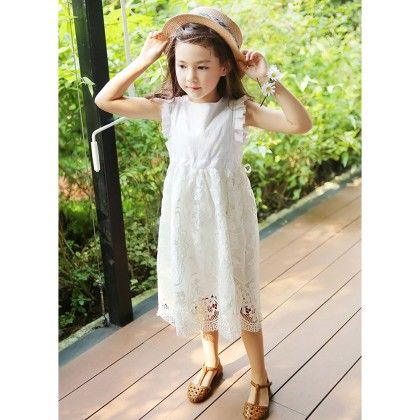 Beautiful Ruffle Sleeved Floral Lace Dress - White - DCGN