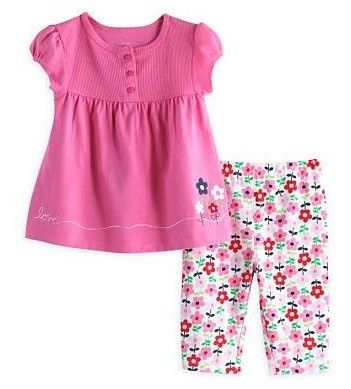 Floral Print Top And Bottom - 2 Pcs Set - Pink - Jumping Baby