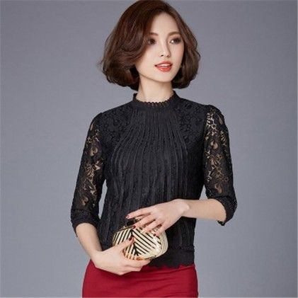Women Long Sleeve Lace Crochet-blouse - STUPA FASHION