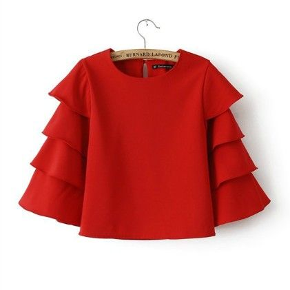 Lady Elegant Workwear Blouse Fashion Women Sleeve O-neck Chiffon Top Red - STUPA FASHION