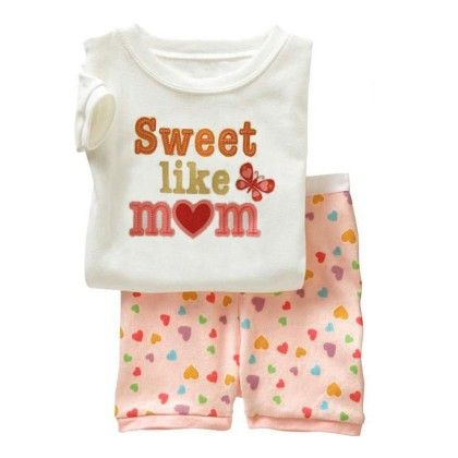 White Sweet Like Mom Print T-shirt & Short Sets - Lil Mantra