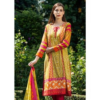 Yellow & Fuchsia Printed Semistiched Suit - Mauve Collection