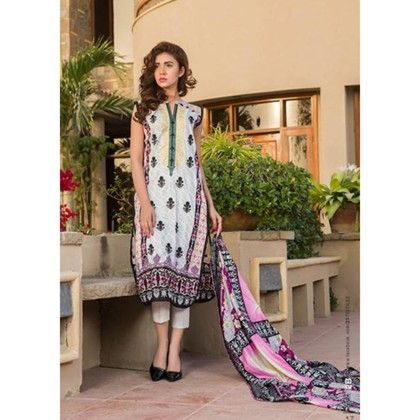 White & Green Summer Embroidered Semistiched Suit - Mauve Collection