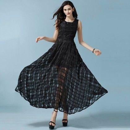 Elegant  Black Maxi Dress - Mauve Collection